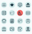 set of 16 education icons includes certificate vector image