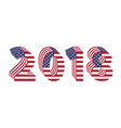 2018 numbers 3d american flag new year vector image