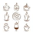 Set of coffee cup symbols vector image vector image