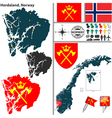 Map of Hordaland vector image