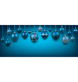 Abstract background with blue christmas balls vector image