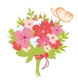 Beautiful bouquet with butterfly vector image