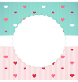 Blue and pink card template with hearts vector image