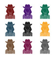 Cowgirl icon in black style isolated on white vector image
