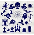 Halloween elements sketch on notebook background vector image