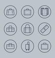 Luggage Flat design thin line icons set vector image
