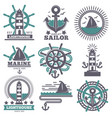 marine nautical sailor symbols heraldic anchor vector image