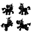 Set of cute horsess silhouettes vector image