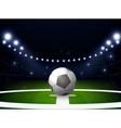 Soccer stadium with ball and spotlight at night vector image