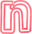 lowercase letter n drawing with Red Marker vector image