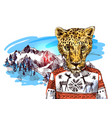 cheetah in mountains vector image