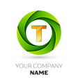 Realistic letter t logo in the colorful circle vector image