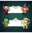 Set of Halloween Banners with Monsters vector image