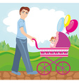 Dad walks with daughter in the park vector image