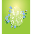 Happy Easter and forget me not spring flowers vector image