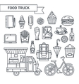 Outlined icons street food vector image
