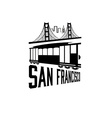 San Francisco Golden gate bridge and tram vector image