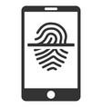 smartphone fingerprint scanner flat icon vector image