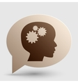 Thinking head sign Brown gradient icon on bubble vector image