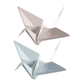 Two cranes of paper in origami style vector image