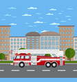 fire truck on road in urban landscape vector image