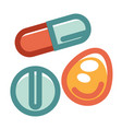 pills in various shapes and colors set isolated on vector image