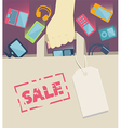 Digital devices falling into a paper shopping bag vector image vector image
