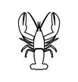 craw fish black color icon vector image
