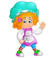 girl waving hand cartoon vector image
