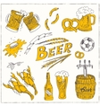hand drawn set with beer vector image