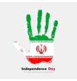 Handprint with the Flag of Iran in grunge style vector image
