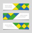 Abstract geometric banners in Brazil flag colors vector image