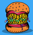 Crazy Burger Monster Doodle vector image vector image