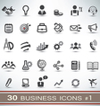30 business icons set 1 vector image vector image