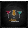 summer cocktail party design chalk background vector image vector image