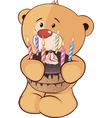 A stuffed toy bear cub and a pie cartoon vector image