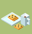 isometric cup of coffee or tea and chocolate chip vector image