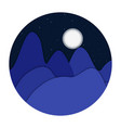 night landscape mountains flat design vector image