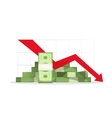 Pile of cash red recession graph with downward vector image