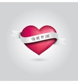 pink heart with silver ribbon and love vector image