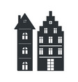 set multi storey houses black silhouettes isolated vector image