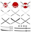 Set of the katana swords vector image