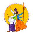 Sikh punjabi sardar couple playing dhol and vector image