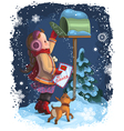 little girl and puppy posting a letter to santa vector image vector image