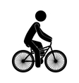 black silhouette person in bicycle vector image