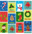 seamless pattern with christmas characters and vector image vector image