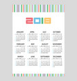 2018 simple business wall calendar color bar code vector image