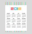 2018 simple business wall calendar color bar code vector image