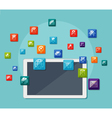 Tablet with icons on communication concept vector image