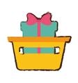 basket shop with gift box ribbon sketch vector image